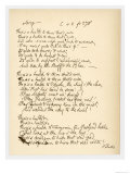 Poem by Robert Burns Giving a Good Example of His Handwriting Giclee Print