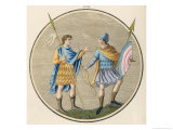 Anglo-Saxon Soldiers in Military Habits Giclee Print by Joseph Strutt