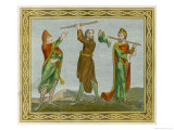 Three Anglo-Norman Men in Outdoor Dress Giclee Print by Joseph Strutt