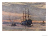 Nelson's Flagship at Portsmouth Giclee Print by Norman Wilkinson