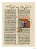 Page from a French Bible History Showing God Telling Abraham What He is to Do Gicle-tryk