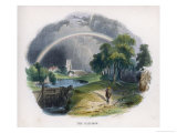 Rainbow Over an Idyllic Country Scene with a Rural Church in the Background Giclee Print by J.w. Whimper