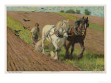 Ploughing with a Pair of Horses Giclee Print by H. Wheelwright