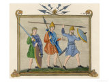 Saxon Soldiers with Spears Broad Swords and Shields Giclee Print by Joseph Strutt