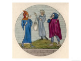 Three Travellers Suitably Dressed to Withstand the Rigours of the Journey Giclee Print by Joseph Strutt