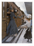 German Troops Return to the Front Kissed and Waved Goodbye from Their Womenfolk Giclee Print by B. Wennerberg