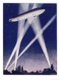 Zeppelin Raider is Caught in the Searchlights Over the Countryside Giclee Print by W.r. Stott