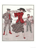 Golfer Watches Grimly as His Female Partner Plays a Winning Stroke Giclee Print by Touraine 