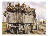 German Troops are Transported by Lorry to the Romanian Front Giclee Print