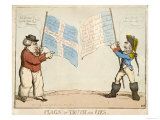 """Flags of Truth and Lies"" John Bull Confronts a French M'sieur Giclee Print"