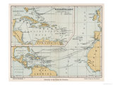Map Showing the Voyages of Christopher Columbus Giclee Print