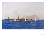 Allied Transport and Store Ships in Suvla Bay Come Under Turkish Shell Fire Giclee Print by Norman Wilkinson