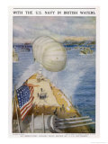 An Observation Balloon on an American Battleship in British Waters Giclee Print by Charles W. Wyllie