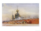 "After the Battle of Jutland Hms ""Princess Royal"" Undergoes Repairs in a Dry Dock Premium Giclee Print by William Lionel Wyllie"