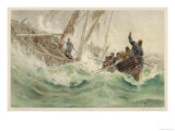 Fisherman and His Dog are Rescued by a Lifeboat as He Clings to the Wreck of His Boat Giclee Print