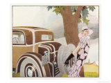 Lady Driver Changes a Wheel Dismayed Giclee Print by René Vincent
