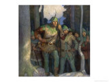 Robin and His Merry Men Emerge Cautiously from the Forest Giclee Print by Newell Convers Wyeth