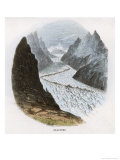Glacier in the Alps Carving a Valley Between Mountain Peaks Giclee Print by J.w. Whimper