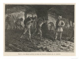 Roman Centurion Supervises Gaul Slaves Chained Together and Forced to Work in the Coal Mines Giclee Print