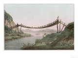 Rope Bridge Over a River Giclee Print
