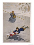 Amy Falls into the Ice But is Saved by Laurie with the Aid of a Hockey Stick Giclee Print by Percy Tarrant