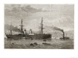 "The French Transatlantic Company's Steamship ""Amerique"" Towed into Plymouth by Tugs Giclee Print by J.r. Wells"
