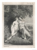 Adam and Eve Watched by an Angel Giclee Print by  Stow