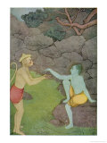 Rama Put His Trust in the Ape Hanuman (Son of the Wind God) to Find His Abducted Wife Sita Giclée-Druck von K. Venkatappa