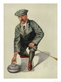 Dr H. S. Lunn a Noted Curling Player Crouches Down to Take His Shot Giclee Print