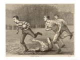 An Attacking Player Charges Forward with the Ball Chased by Two Opposing Players Giclee Print by W.b. Wall