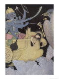 Jatayus King of the Vultures Tries to Rescue Sita from the Demon Ravana Giclee Print by K. Venkatappa