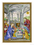 Angels and Shepherds Crowd into the Stable to Pay Their Respects to the Infant Giclee Print