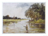Trout Fishing on the Itchen Hampshire Giclee Print by Whymper
