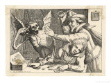 Two Misers Wrestle with Death Over Their Hoard of Gold Giclée-Druck von Werner Von Valckert