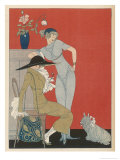 Pet Dog, Probably a Skye Terrier, with Its Fashionable Owners Reproduction procédé giclée par Gerda Wegener
