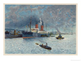 Liverpool Docks with the Cunard Liner Campania Giclee Print by Charles Wilkinson