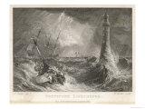 Small Boat in a Rough Sea Sails Perilously Near Smeaton's Third Eddystone Lighthouse Near Plymouth Giclee Print by R. Wallis
