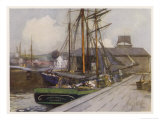 Sailing Vessels at the Entrance to the Clyde and Forth Canal at Bowling Giclee Print by Mary Young
