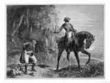 Masked Highwayman on Horseback Robs a Pedestrian Giclee Print