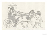 An Assyrian Ruler Rides in His Chariot Drawn by Two Horses with Two Grooms and Two Attendants Giclee Print