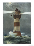 The Lighthouse on Roten Sande in the Weser Estuary on Germany's Nordzee Coast Giclee Print by Willy Stower