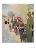 Veteran Car is Admired by Passers-By in the Champs Elysees Paris Giclee Print by René Vincent