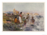 Maori Women Washing Laundry in the Hot Spring at Ohinemutu New Zealand Giclee Print by W. Wright