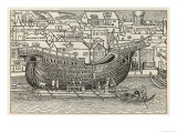 The Construction of a Galleon in a Floating Dock Close to a Town Giclee Print
