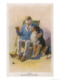 """Pals"", a Soldier Blinded in the War is Comforted by a Sheepdog Giclee Print by George Soper"