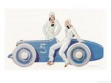 Women Join the Racing Driver Fraternity Giclee Print by René Vincent