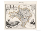 Map of Gard France Premium Giclee Print by Alexandre Vuillemin