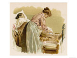 Bathing an Elderly Patient Who is Bed Bound Giclee Print