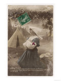 French Red Cross Nurse Prays for the Safety of the French Soldiers Giclee Print