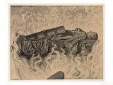 The Devouring Flames Curl Round the Body of Brunnhilde as She Lies Giclee Print by Hans Thoma